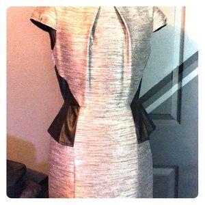 Antonio Melanie metallic gray dress with peplum s6